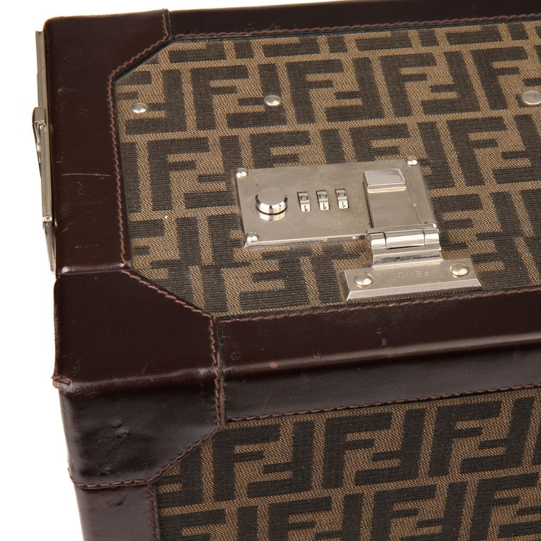 Fendi Brown Zucca Monogram Canvas Trunk Originally Owned by Karl Lagerfeld For Sale 1