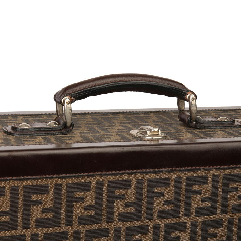 Fendi Brown Zucca Monogram Canvas Trunk Originally Owned by Karl Lagerfeld For Sale 2