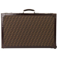 Fendi Brown Zucca Monogram Canvas Trunk Originally Owned by Karl Lagerfeld