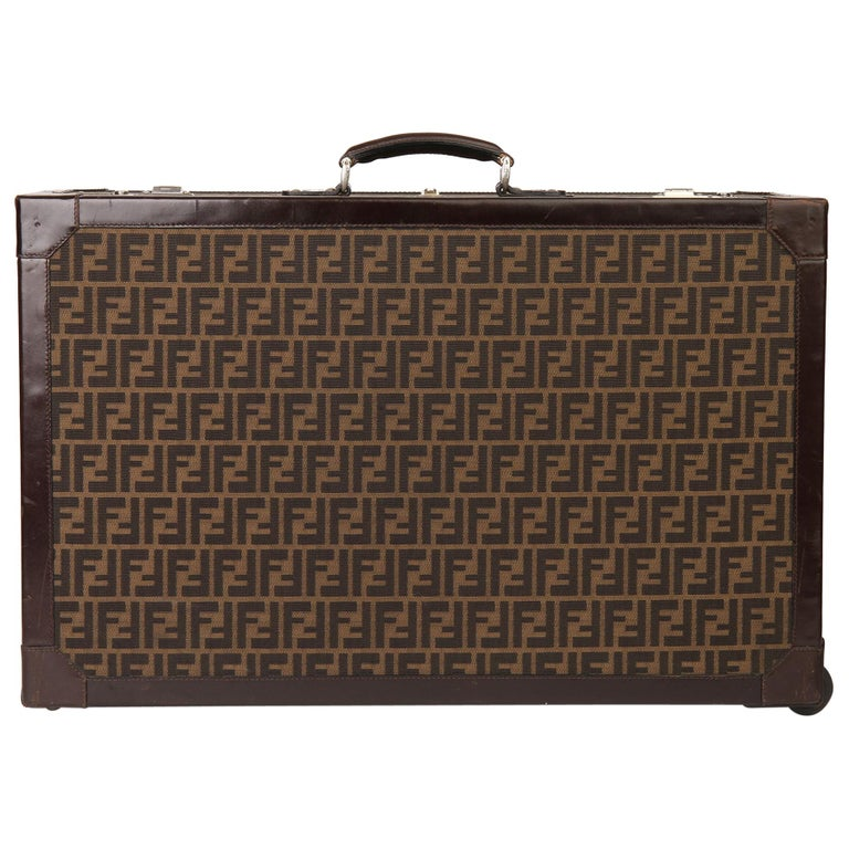 Fendi Brown Zucca Monogram Canvas Trunk Originally Owned by Karl Lagerfeld For Sale