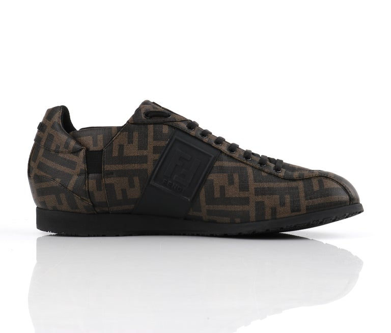 FENDI Brown Zucca Monogram Coated Canvas Logo Mens Low Top Sneaker Shoes For Sale 1