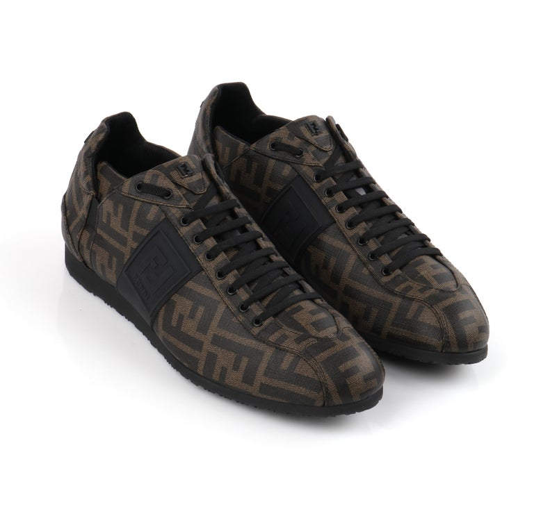FENDI Brown Zucca Monogram Coated Canvas Logo Mens Low Top Sneaker Shoes For Sale 2