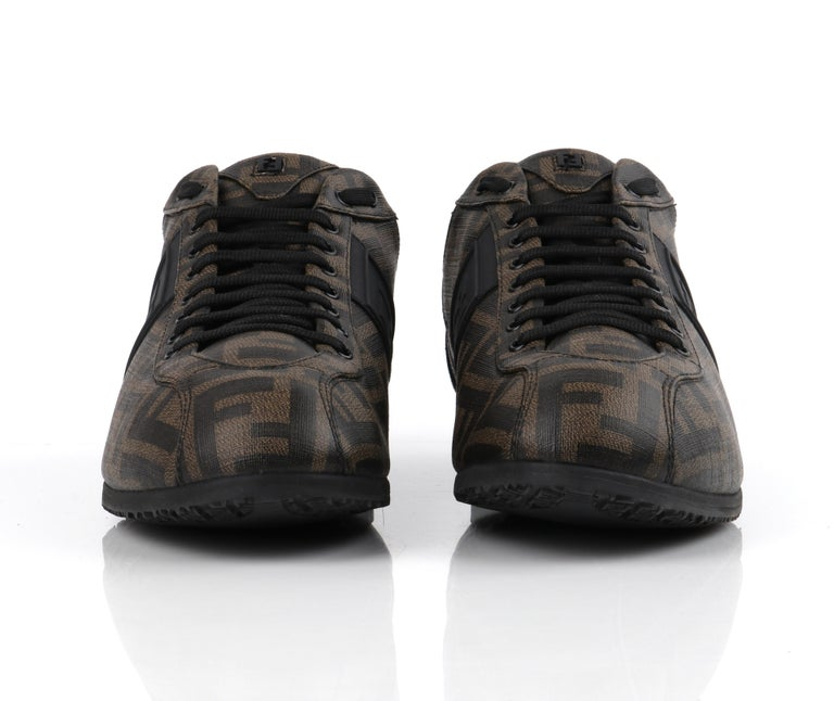FENDI Brown Zucca Monogram Coated Canvas Logo Mens Low Top Sneaker Shoes For Sale 3