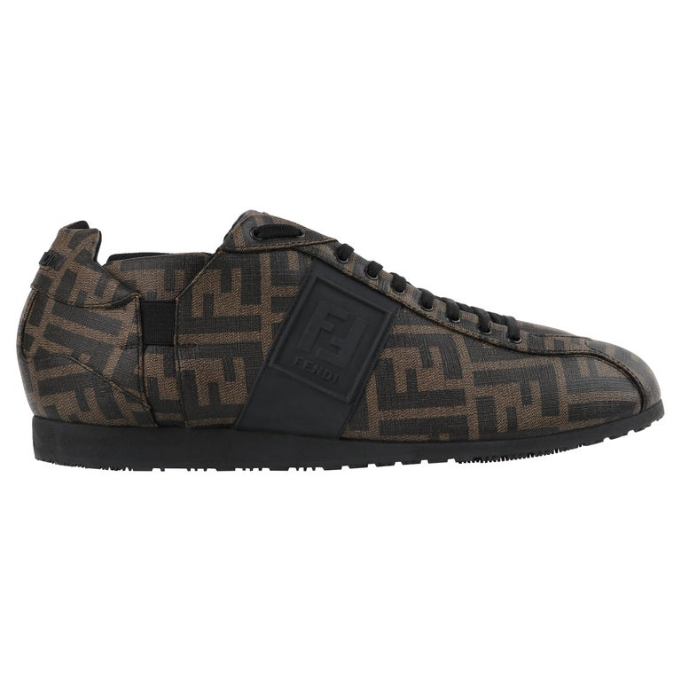 FENDI Brown Zucca Monogram Coated Canvas Logo Mens Low Top Sneaker Shoes For Sale