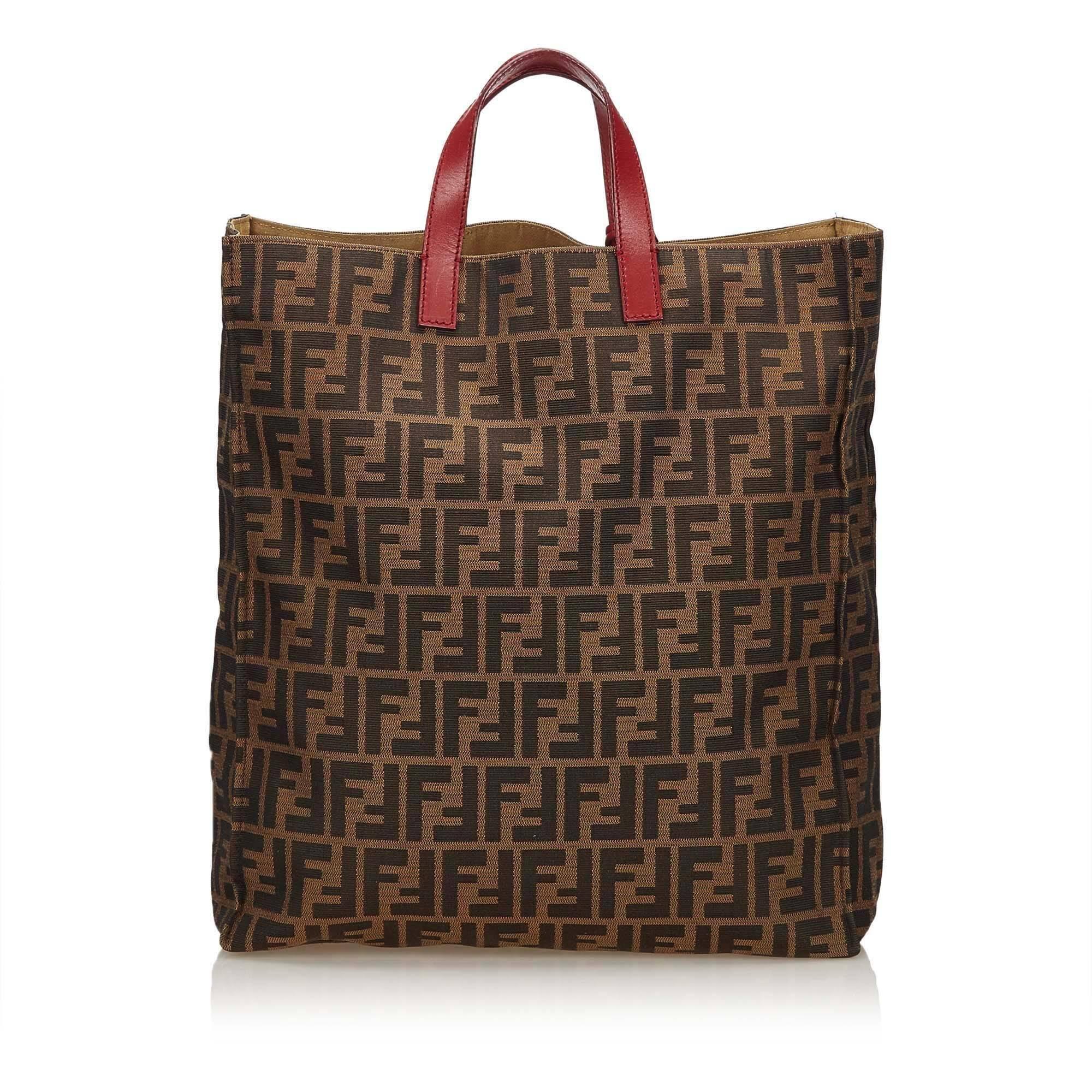 ... best price black fendi brown zucca shopper tote bag for sale b9630  a2495 ... fe313950bbe27