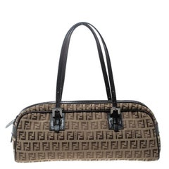 Fendi Brown Zucchino Canvas and Leather Bowler Bag