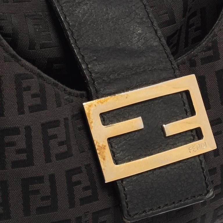 Fendi Brown Zucchino Canvas and Leather Flap Hobo For Sale 5