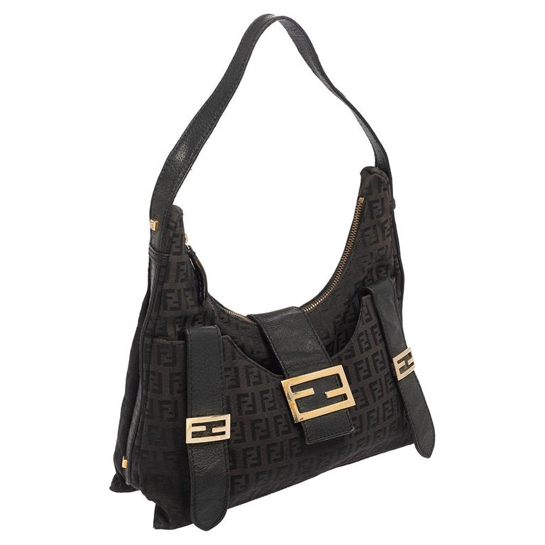 Black Fendi Brown Zucchino Canvas and Leather Flap Hobo For Sale