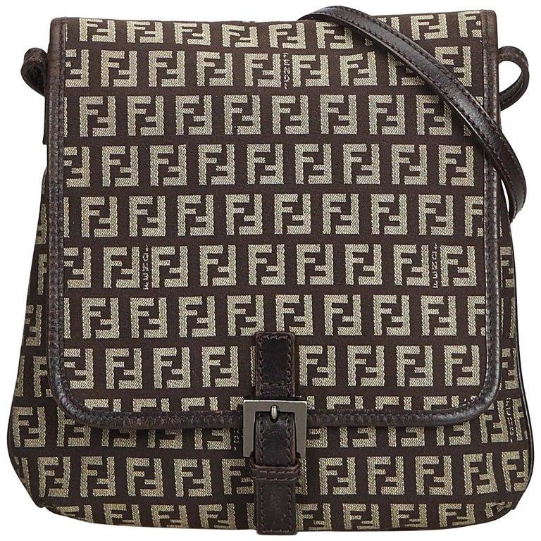 ddd04efc9 Fendi Brown Zucchino Canvas Crossbody Bag at 1stdibs