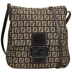 Fendi Brown Zucchino Canvas Crossbody Bag