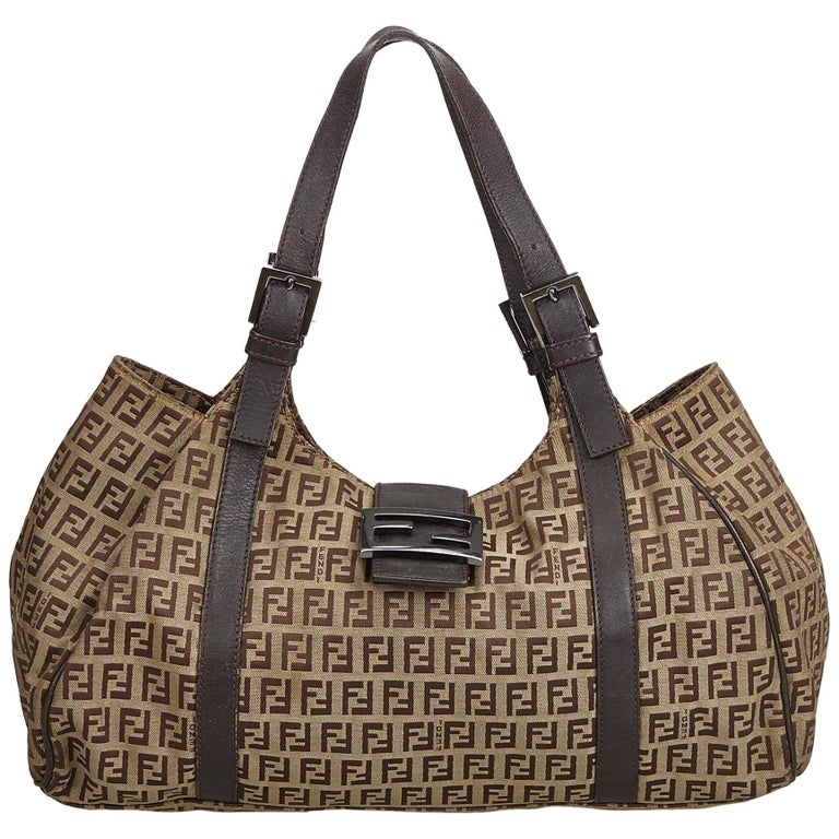 e1d1b16c19fa Fendi Brown Zucchino Canvas Tote Bag For Sale at 1stdibs