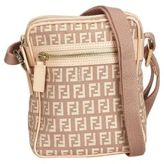 Fendi Brown Zucchino Jacquard Crossbody Bag