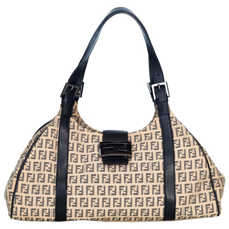 4ca07b4b8755 Fendi Brown Zucchino Jacquard Hobo at 1stdibs