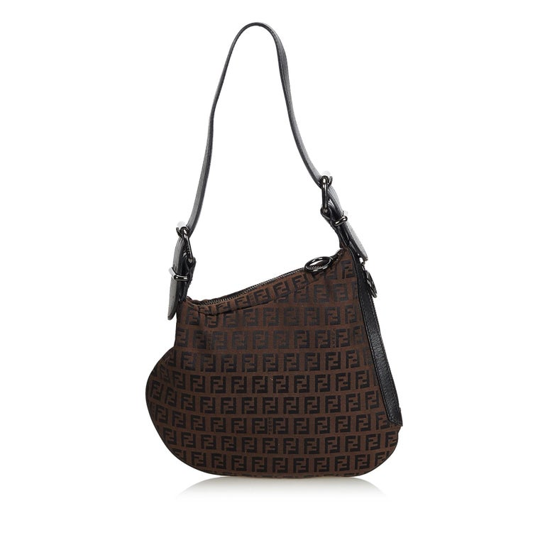 Black Fendi Brown Zucchino Oyster Bag For Sale