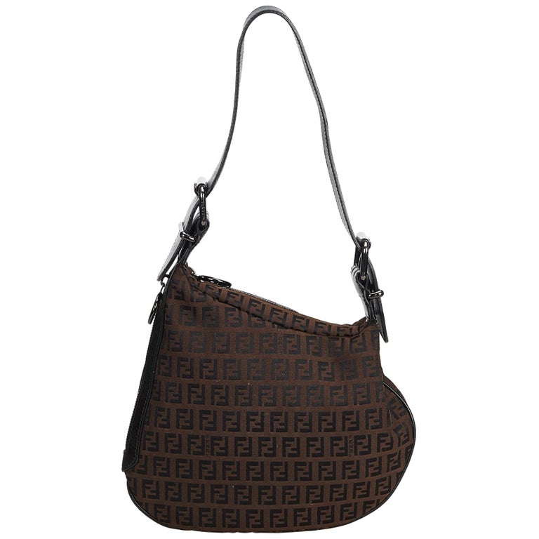 Fendi Brown Zucchino Oyster Bag For Sale