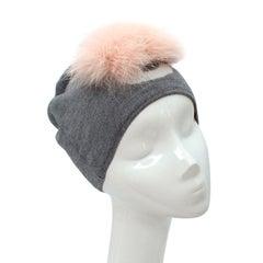 Fendi Bug Grey Wool & Pink Fox Fur Pom-Pom Beanie Hat