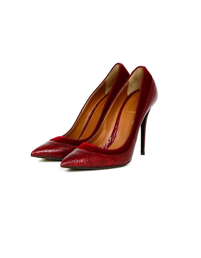 Fendi Burgundy Croc Embossed Pointed Toe Pumps w/ Velvet Trim sz 39 rt $790   Made In: Italy Color: Burgundy Materials: Embossed leather, velvet trim Closure/Opening: Slide on  Overall Condition: Very good pre-owned condition, with light wear to