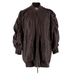 Fendi Burgundy Laser cut Leather Runway Jacket - 2019