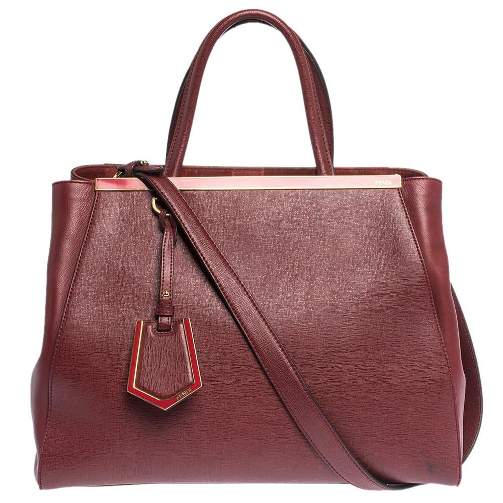 Fendi Burgundy Leather Medium 2jours Tote