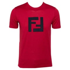 Fendi Burgundy Logo Patch Cotton Crewneck T-Shirt S