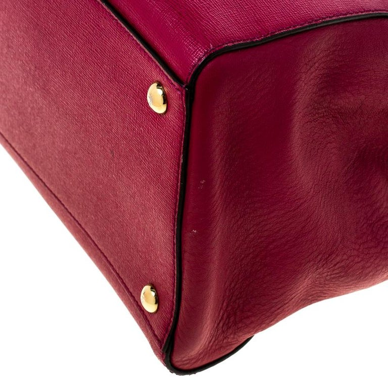Fendi Burgundy Saffiano Leather Large 2Jours Tote For Sale 5