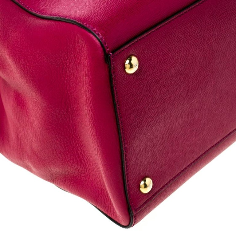 Fendi Burgundy Saffiano Leather Large 2Jours Tote For Sale 6
