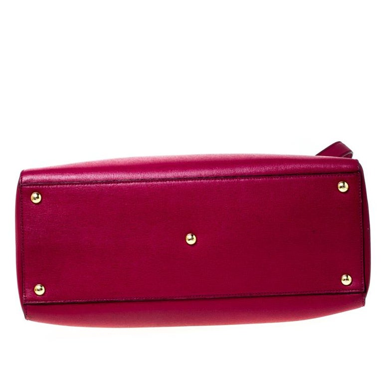 Fendi Burgundy Saffiano Leather Large 2Jours Tote For Sale 7