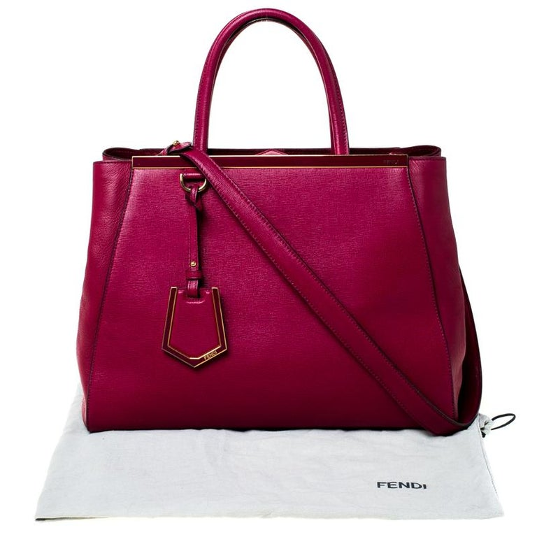 Fendi Burgundy Saffiano Leather Large 2Jours Tote For Sale 8