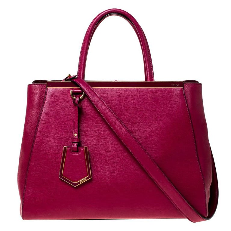 Red Fendi Burgundy Saffiano Leather Large 2Jours Tote For Sale