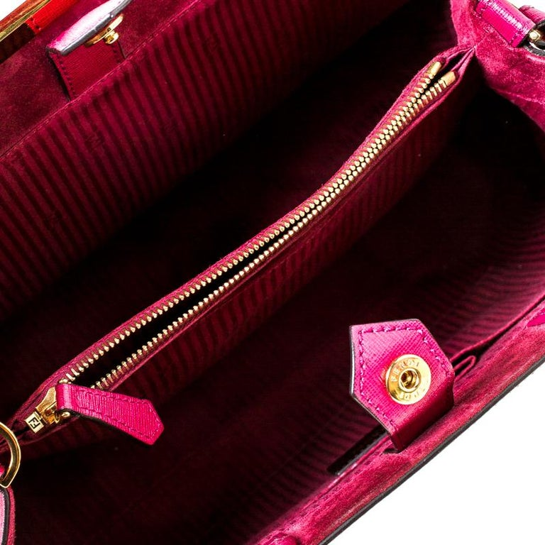 Fendi Burgundy Saffiano Leather Large 2Jours Tote For Sale 2