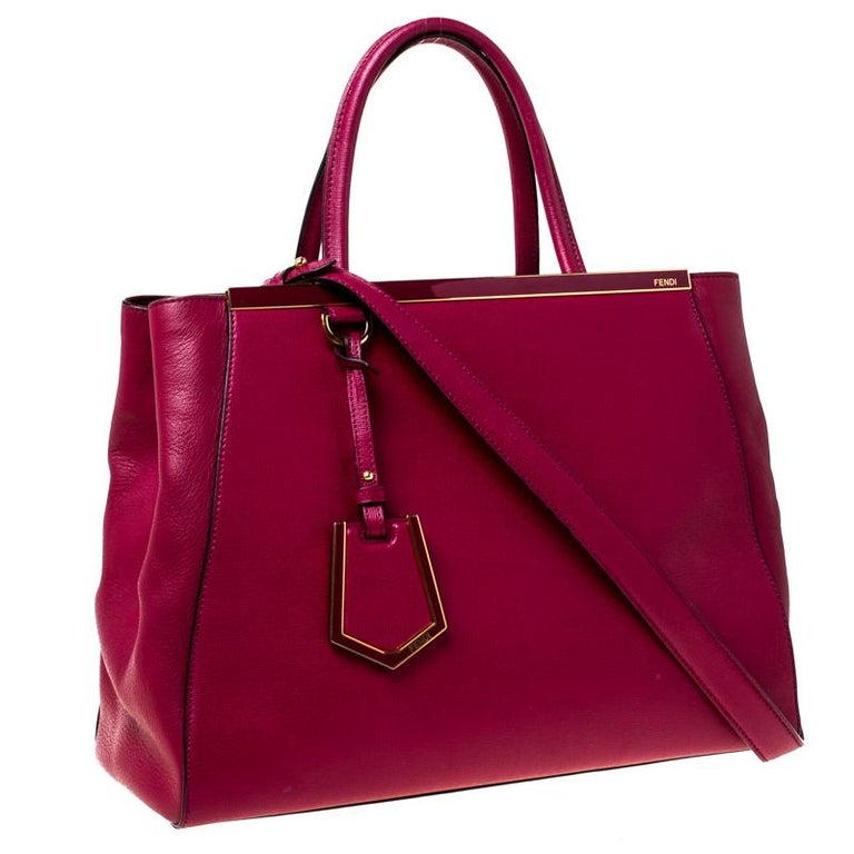 Fendi Burgundy Saffiano Leather Large 2Jours Tote For Sale 4
