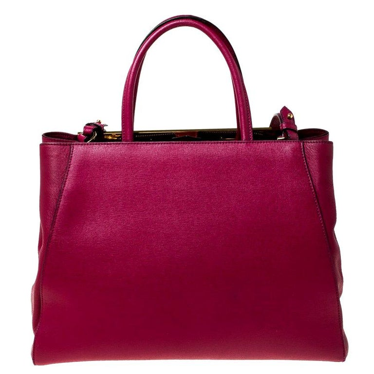Fendi Burgundy Saffiano Leather Large 2Jours Tote For Sale