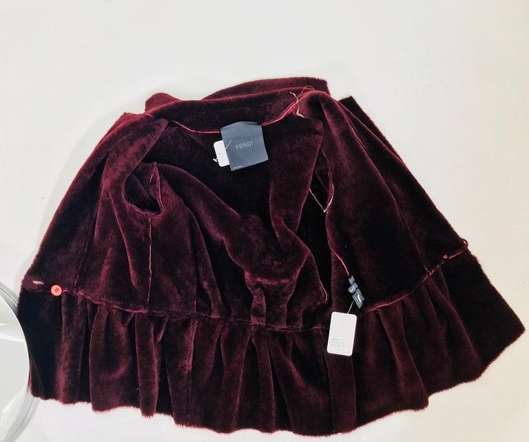 Fendi Burgundy Shearling button Front Jacket For Sale 6