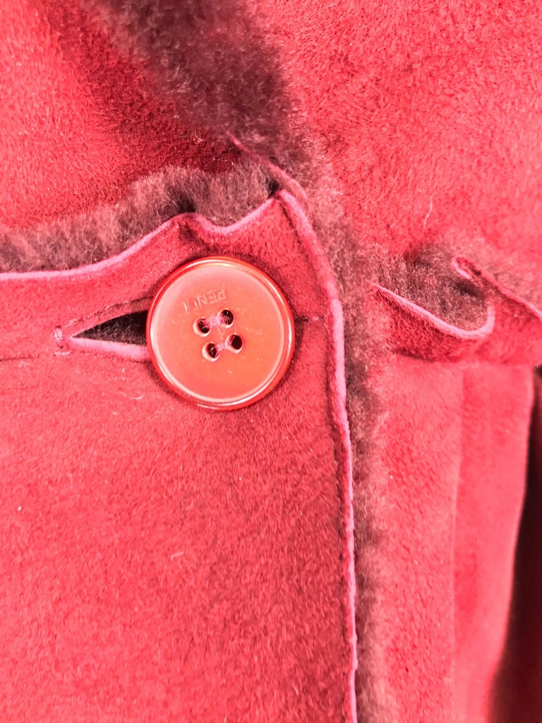 Fendi Burgundy Shearling button Front Jacket For Sale 7