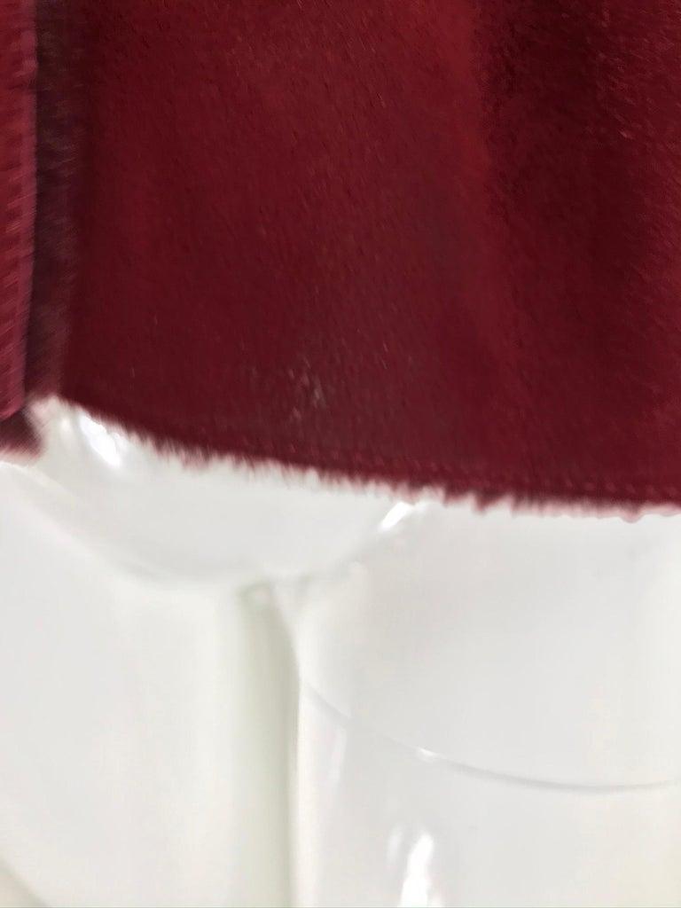 Fendi Burgundy Shearling button Front Jacket For Sale 8