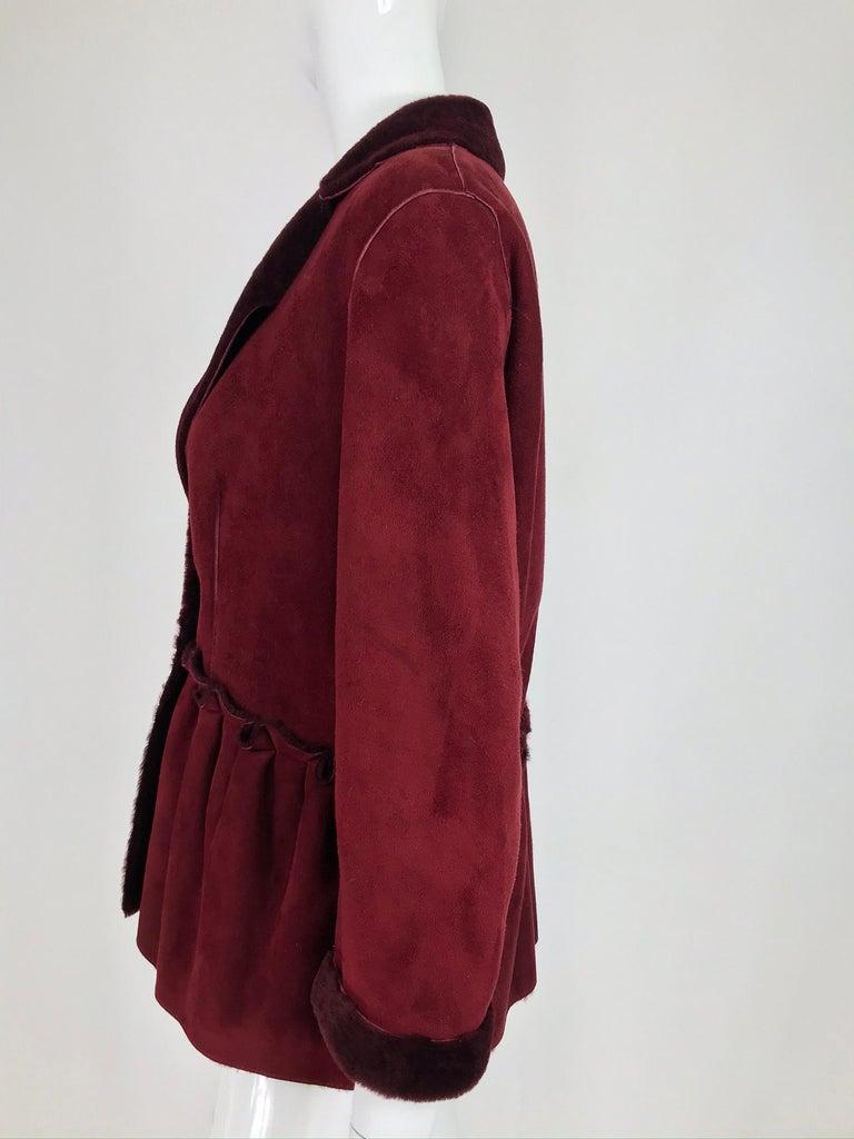 Women's Fendi Burgundy Shearling button Front Jacket For Sale