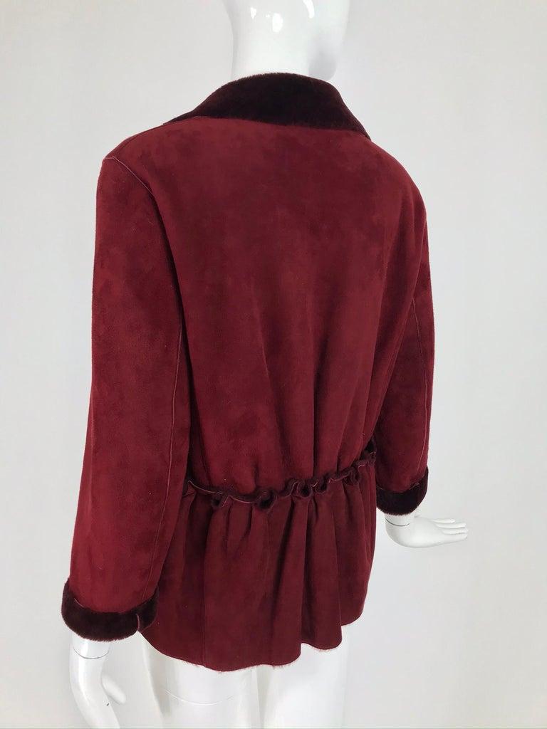 Fendi Burgundy Shearling button Front Jacket For Sale 1