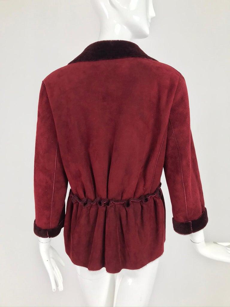 Fendi Burgundy Shearling button Front Jacket For Sale 2