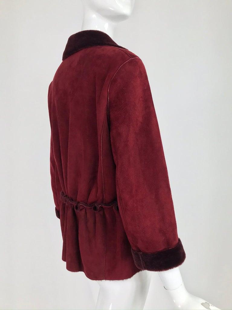 Fendi Burgundy Shearling button Front Jacket For Sale 3