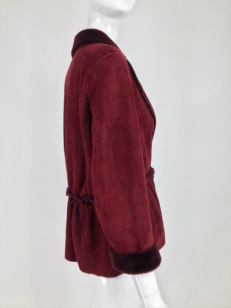 Fendi Burgundy Shearling button Front Jacket For Sale 4