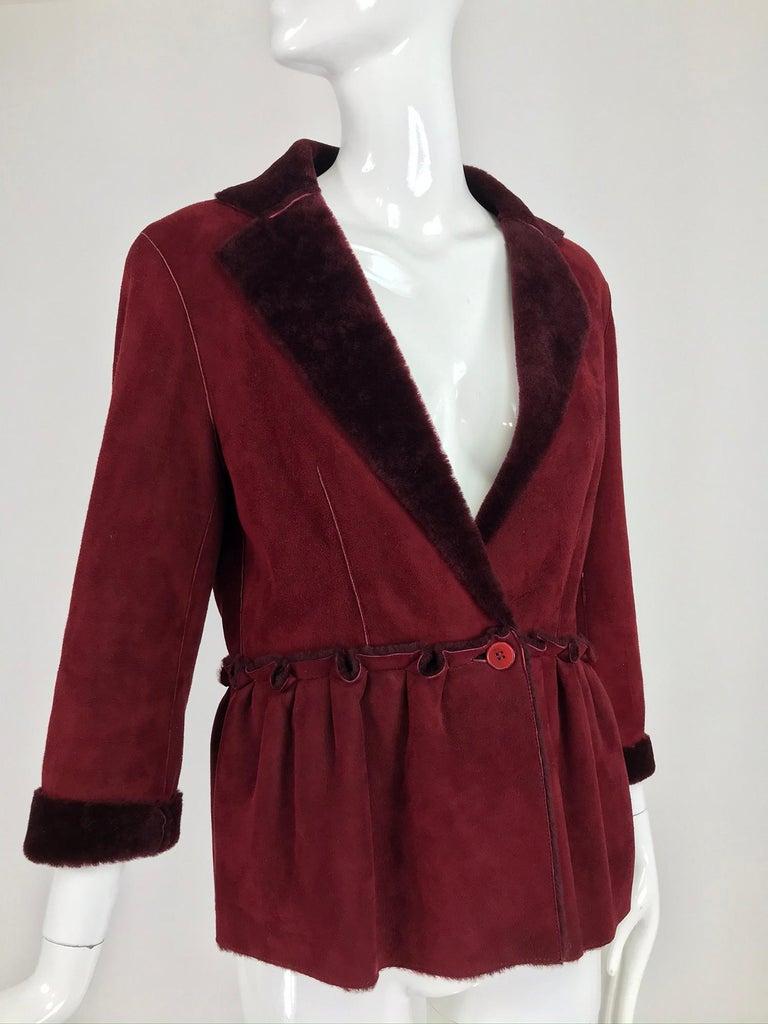Fendi Burgundy Shearling button Front Jacket For Sale 5