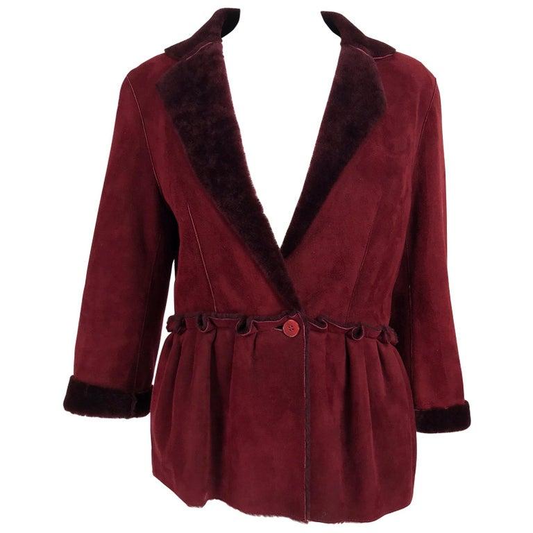 Fendi Burgundy Shearling button Front Jacket For Sale