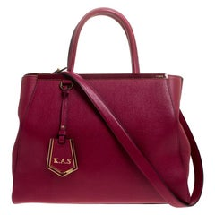 Fendi Burgundy Vitello Leather Medium 2Jours Elite Tote