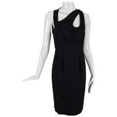 Fendi Button Strap Cut Out Black Gabardine Dress