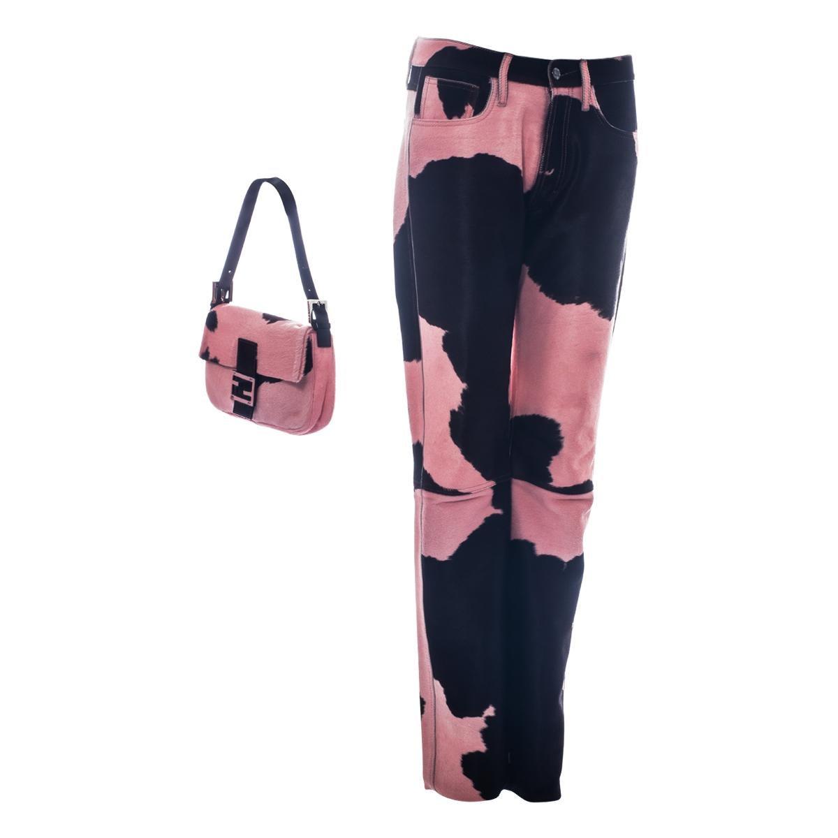 Fendi by Karl Lagerfeld baby pink cowhide pants and baguette bag set, fw 1999
