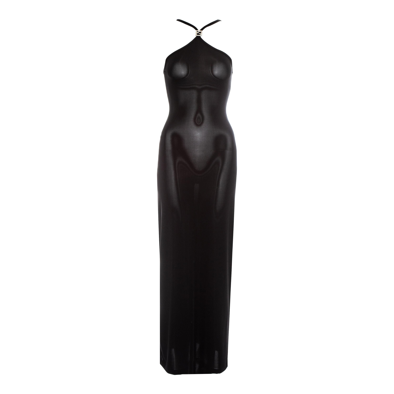 Fendi by Karl Lagerfeld black lycra maxi dress, ss 1997