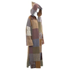 Fendi by Karl Lagerfeld multicoloured patchwork wool and fur maxi coat, fw 1999