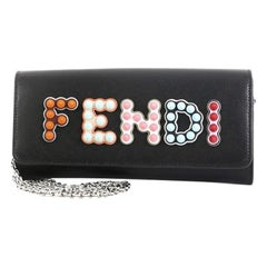 Fendi By The Way Continental Chain Wallet Leather