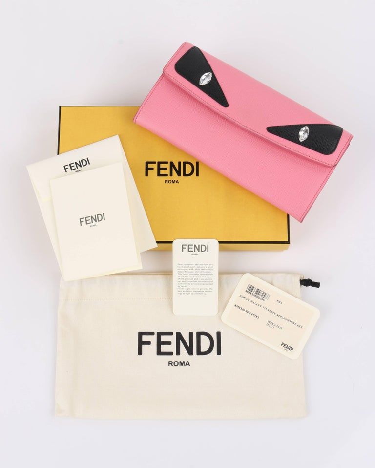 Fendi c.2015 pin and black saffiano leather monster eye