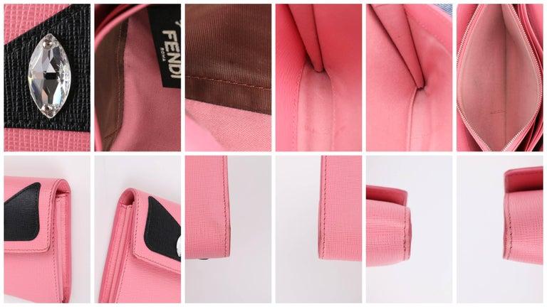 FENDI c.2015 Pink & Black Saffiano Leather Monster Eye
